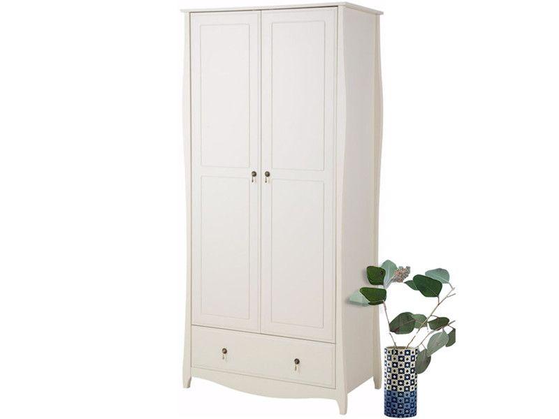 Garderobenschrank AMELIE 2 Türen aus Kiefer in creme weiß im