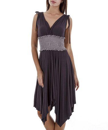 Another great find on #zulily! Mink & Beige Shirred Handkerchief Dress by Merdor #zulilyfinds