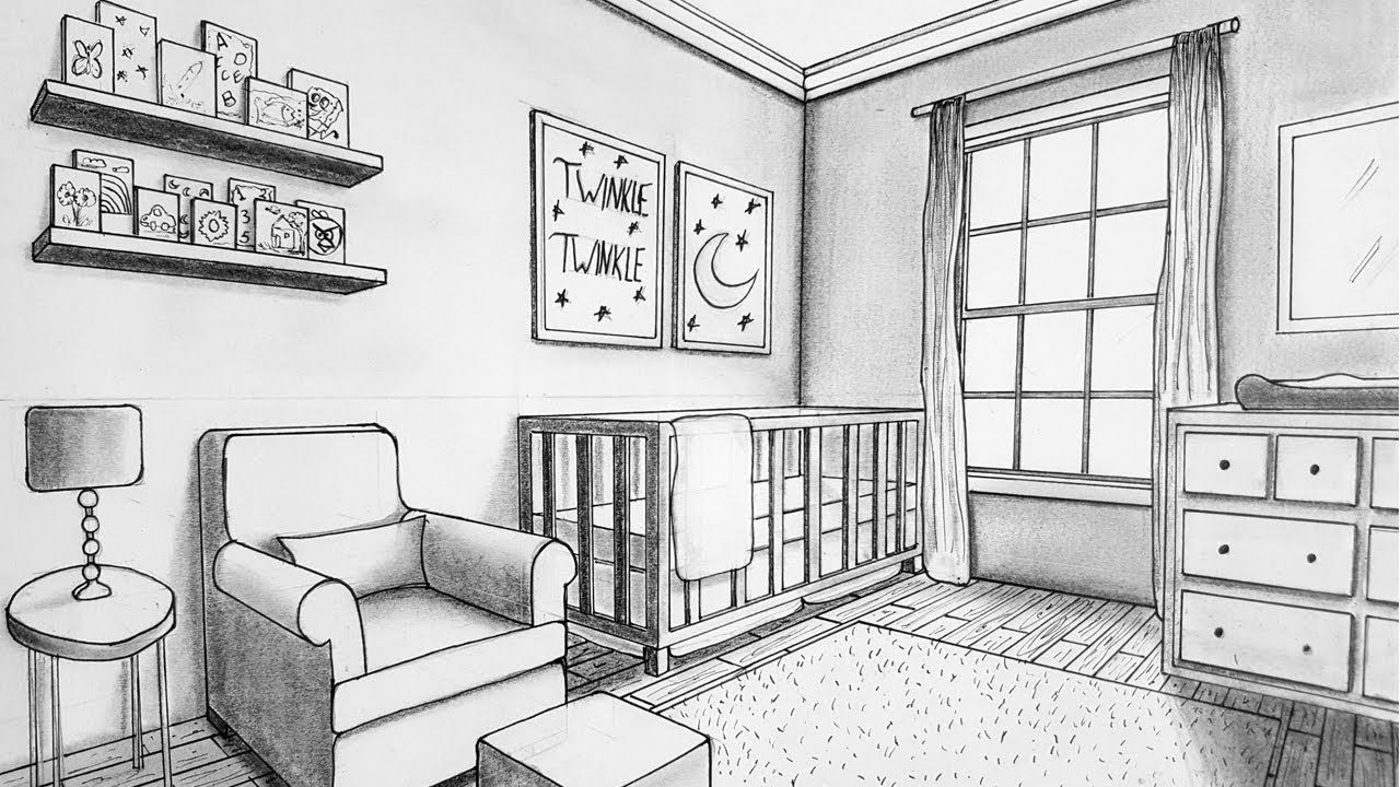 Drawing In Two Point Perspective Nursery Room Timelapse Youtube Perspective Room Perspective Drawing Architecture Perspective Drawing