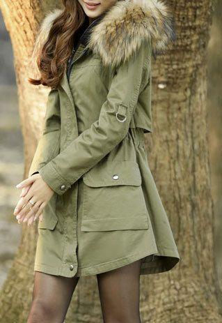 Solid Color Irregular Hem Cargo Pockets Hooded Jacket Long Tunic Coat