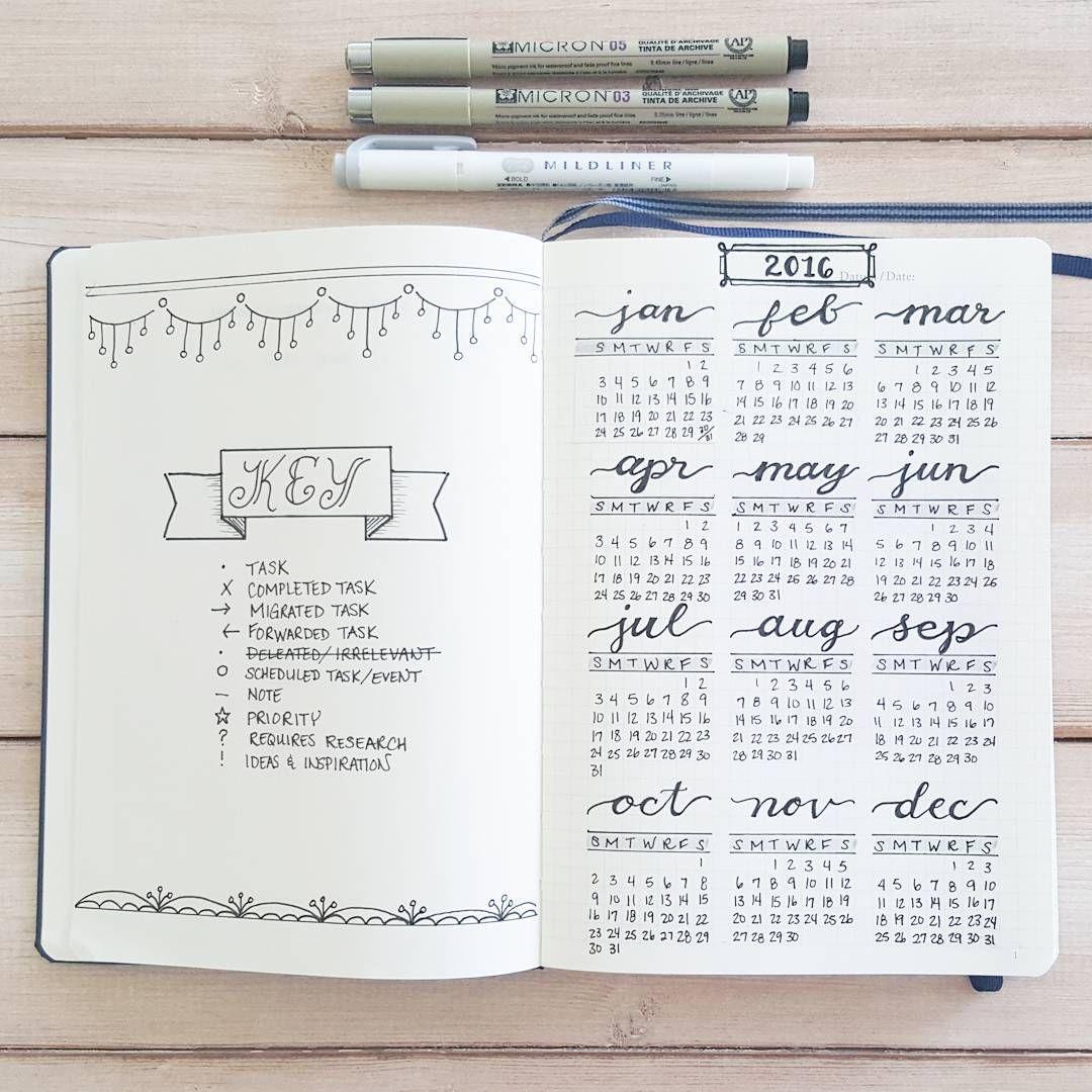 Calendar Ideas For Bullet Journal : Set up pages key and calendar i started my bullet