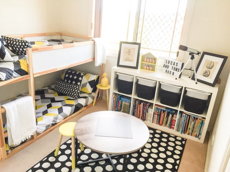 Shared boys geometrical bedroom combination of ikea and kmart styling monochrome yellow theme - Ikea boys bedroom ideas ...