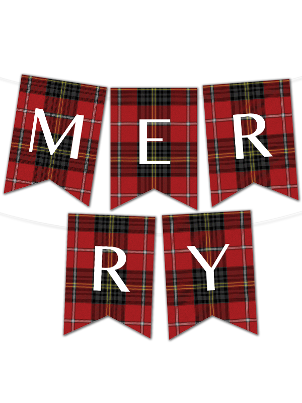 photo about Printable Banner Maker identified as Tartan Pennant Banner Manufacturer Xmas Tips Decor
