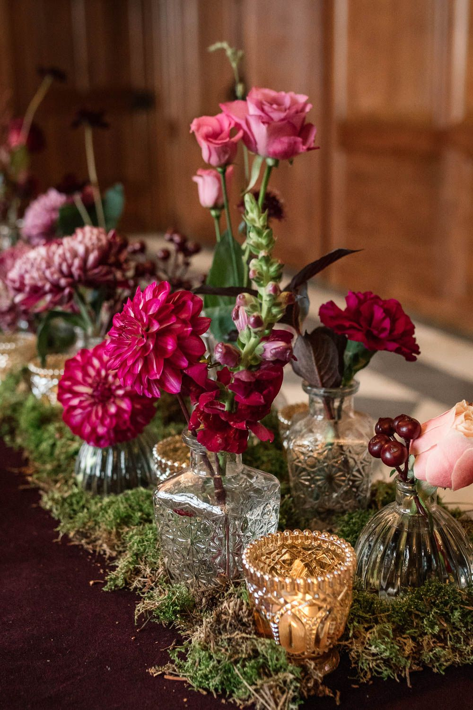 Bottle Flowers Table Centrepiece Decor Red Pink Moss Gold Dahlia Rose Winter Luxe Wedding Ideas Becky
