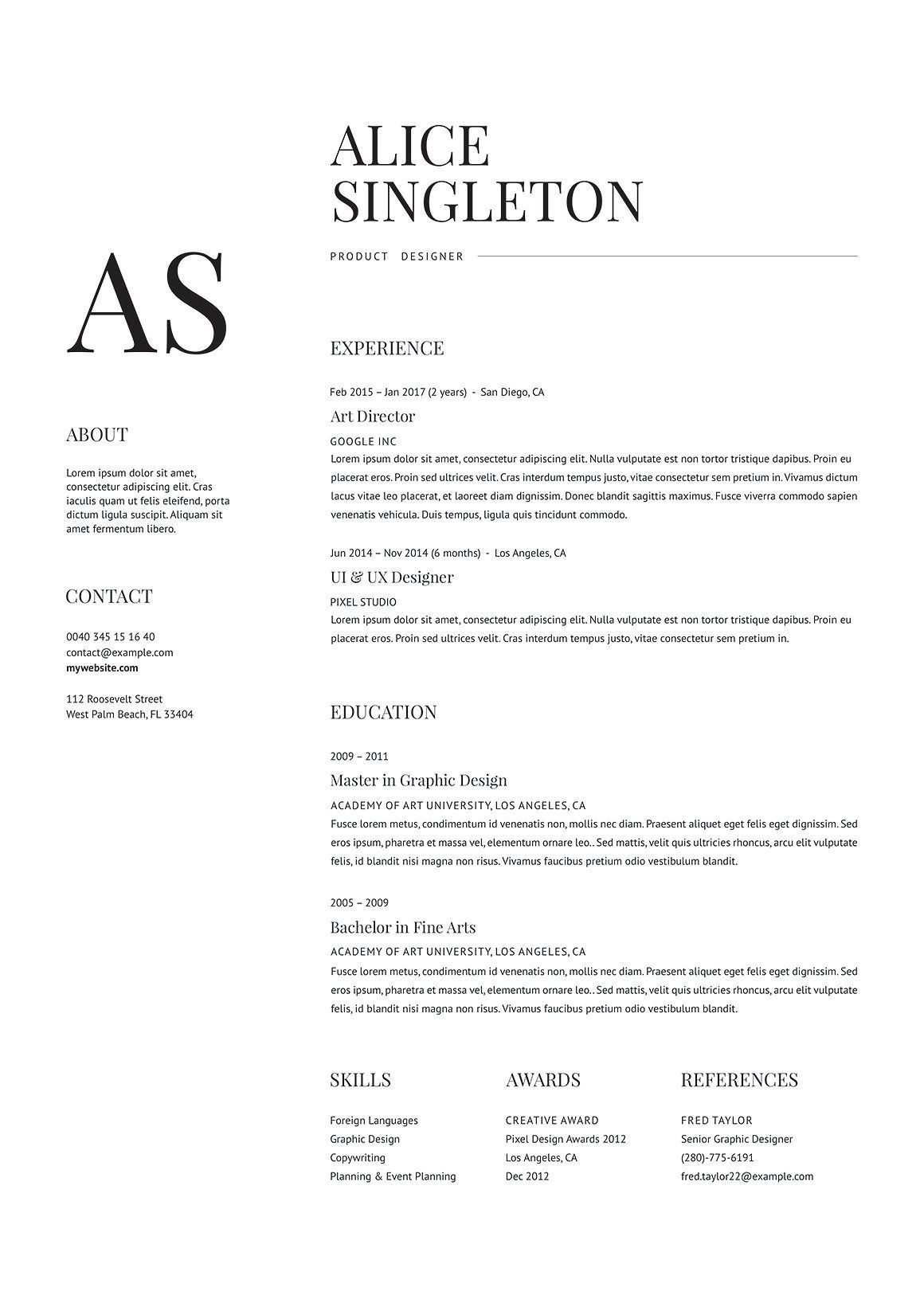 a classy  minimalist resume template with unique  readable fonts  available in word  photoshop