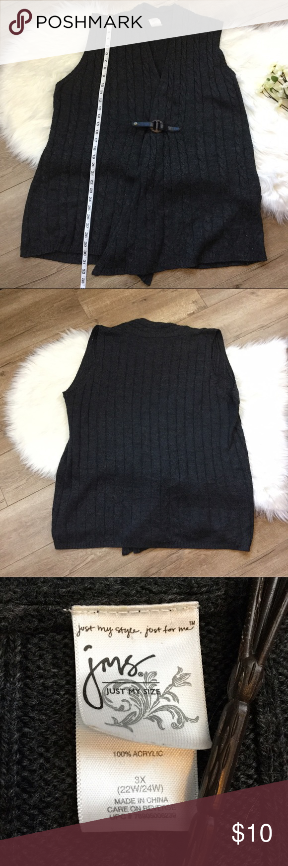 Grey Cable Knit Sweater Vest Charcoal Grey Cable Knit