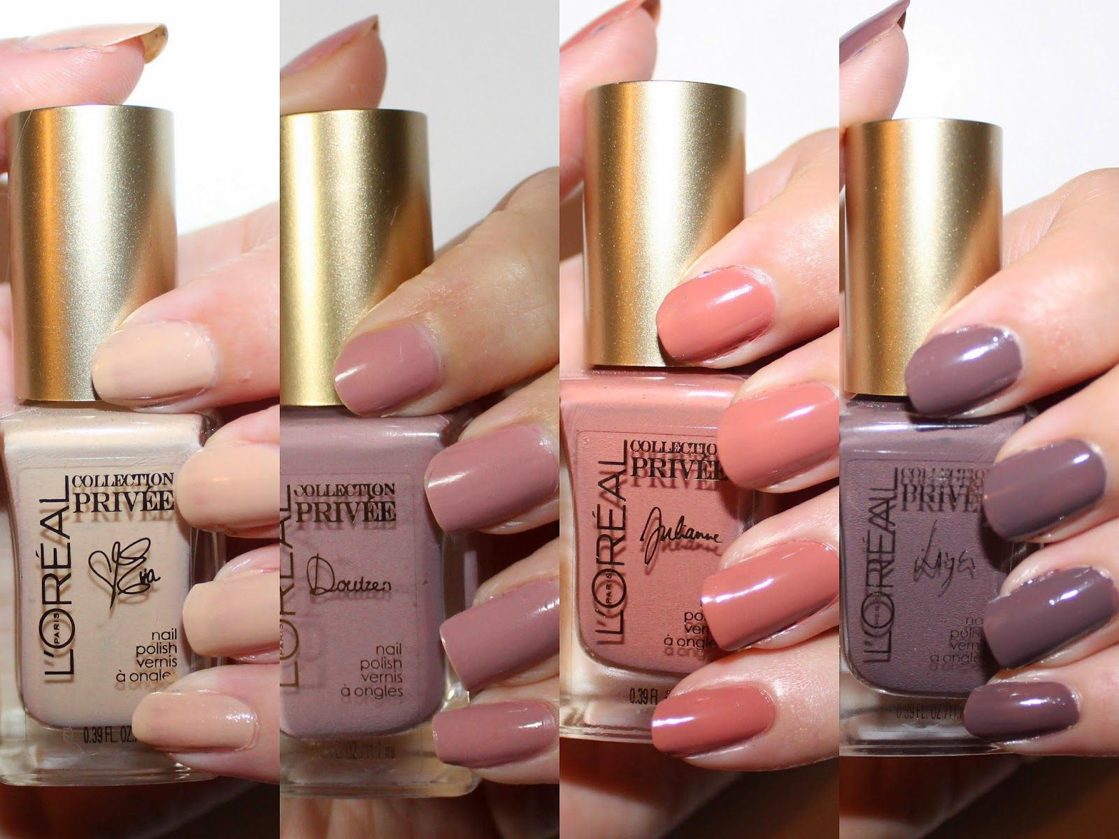 L'Oréal Collection Privée Exclusive Nudes Nail Polishes Swatches ...