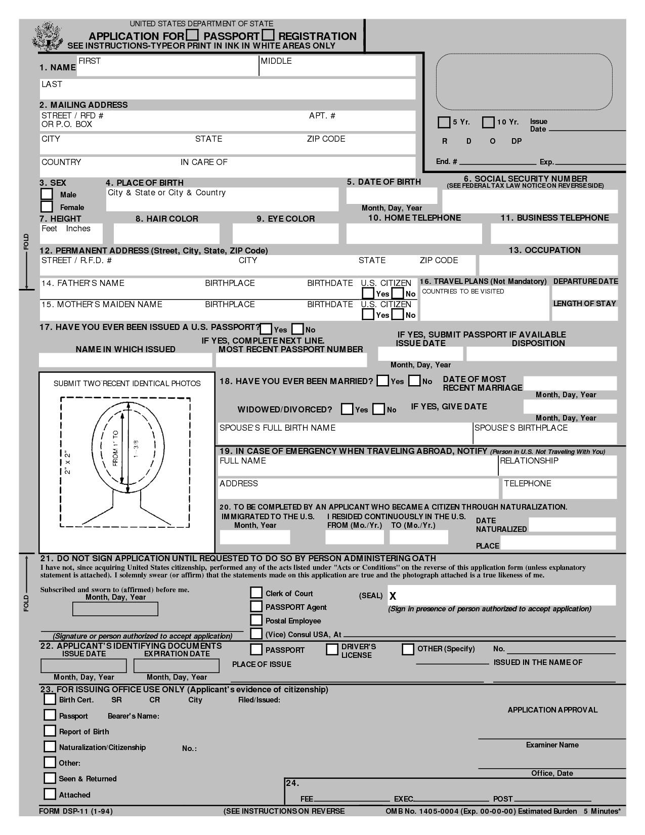 Free Printable Passport Application Form  Passport Application