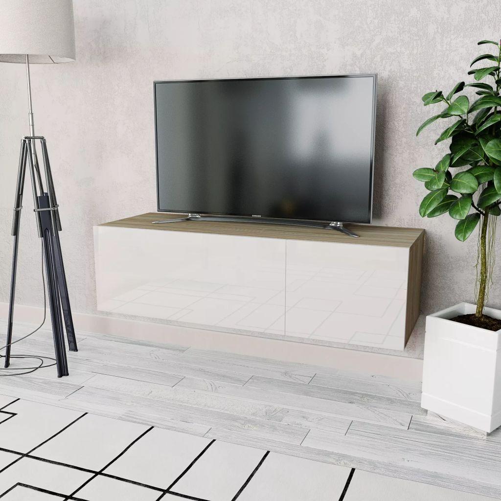 Nette Tv Kast.Tv Kast 120x40x34 Cm Spaanplaat Eikenkleur En Wit Nieuw