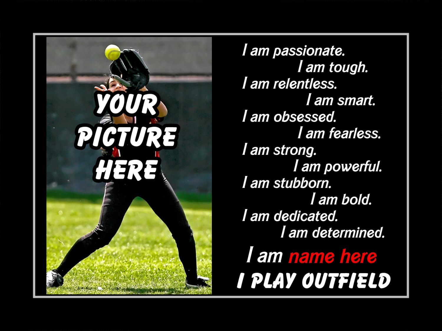 Personalized Softball Custom Poster I PLAY OUTFIELD Photo Quote Wall Art Print 11x14 Motivation Pride Attributes Qualities
