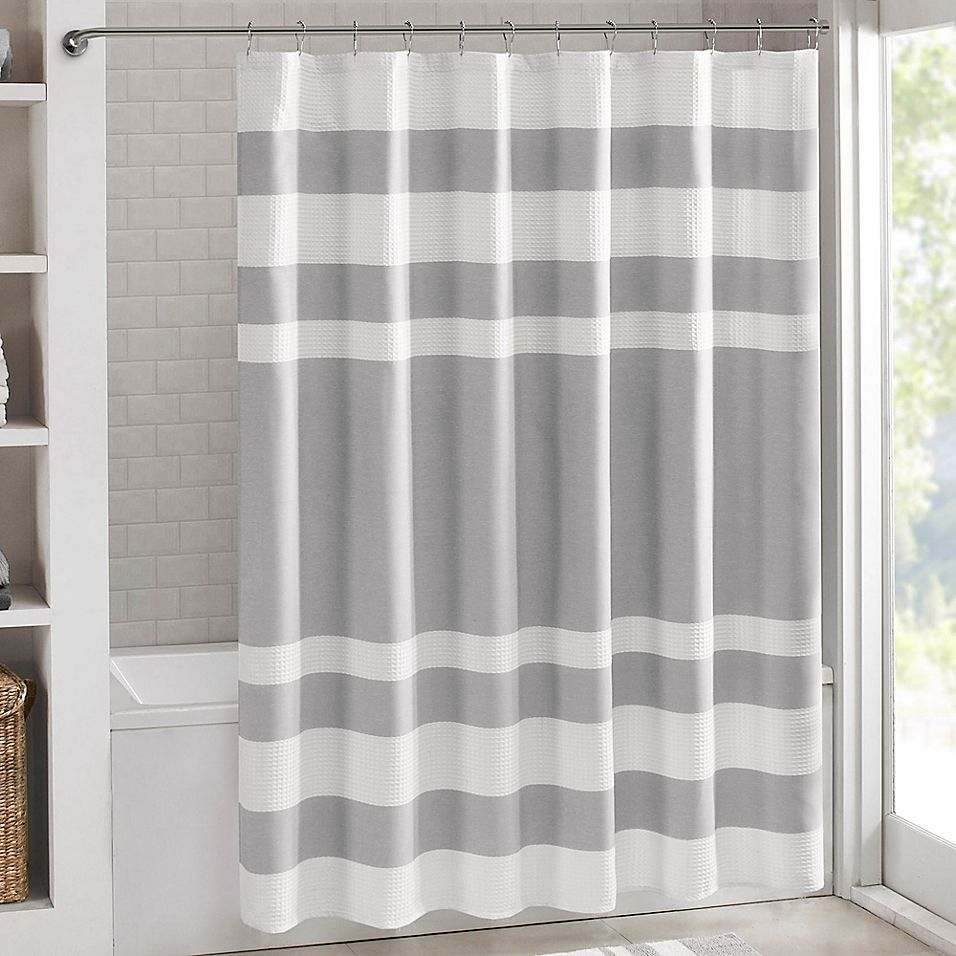 Madison Park 72 X 84 Spa Waffle Shower Curtain In Grey In 2020