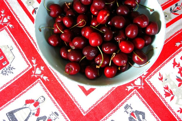 This is a bowl of real, authentic, bona fide cherries that might be harvested in Oregon or Washington.   How maraschino cherries are made