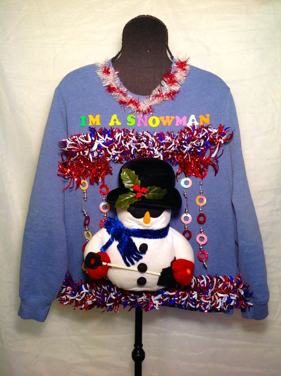 """I'm a Snowman!! Singing Snowman sing to the tune of """"Soul Man"""" Funny Mens Christmas sweater!"""
