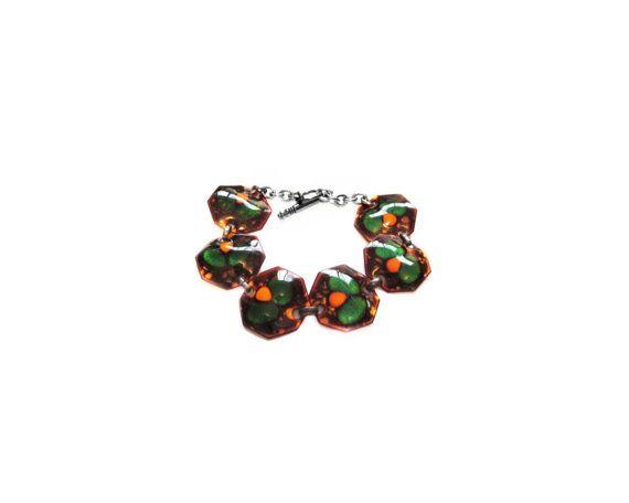Handmade Enamel Bracelet, Folk Art