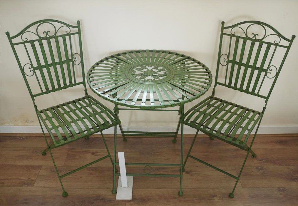 French Bistro Table And Chairs Uk Colorful Patio Ornate Antique Green Wrought Iron Metal Garden Furniture Set Amazon