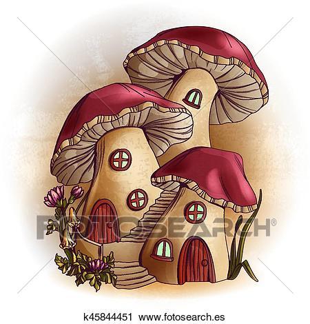 Hongo Casas Cuento De Hadas Ilustración Clipart K45844451 Arte De Seta Arte De Hadas Casa De Setas