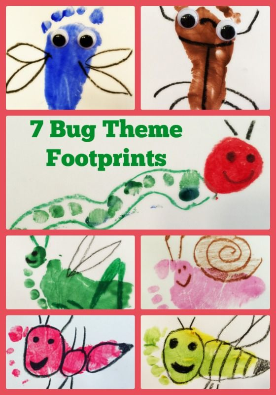 bug theme baby or toddler footprint craft including an ant