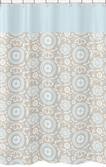 Hayden Blue And Taupe Shower Curtain From Sweet Jojo Designs Shop