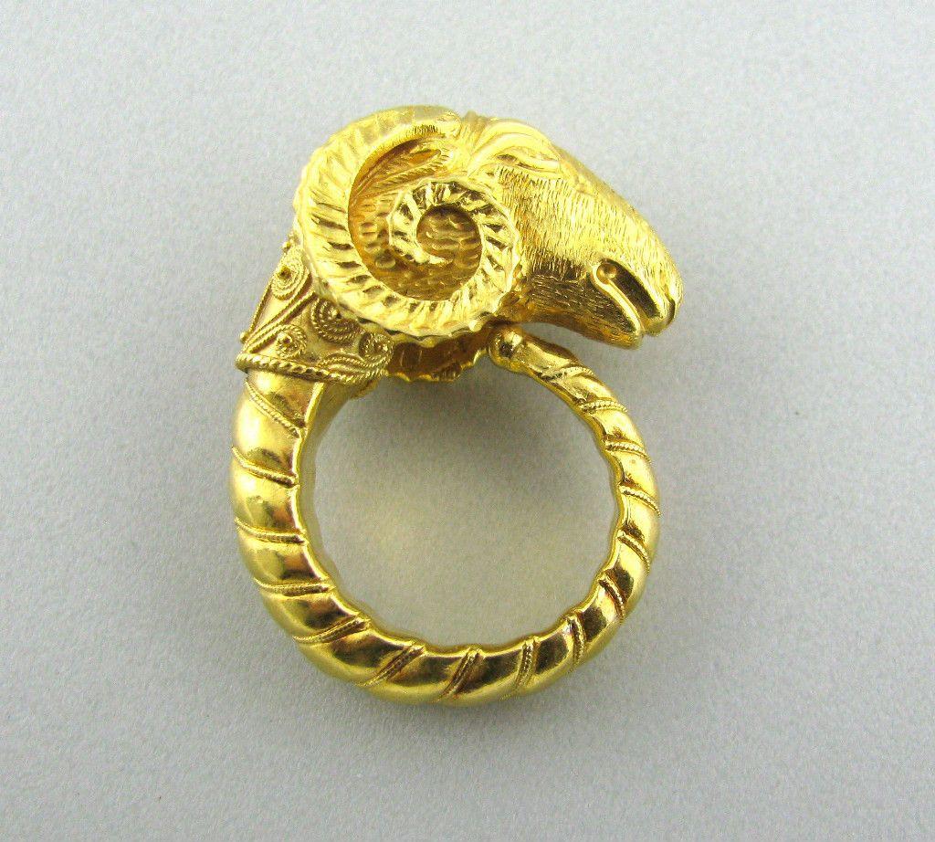 Estate Vintage Zolotas Lalaounis Greece 22k Gold Ram S Head Ring Style De Bijoux Bijoux Bague Alliance