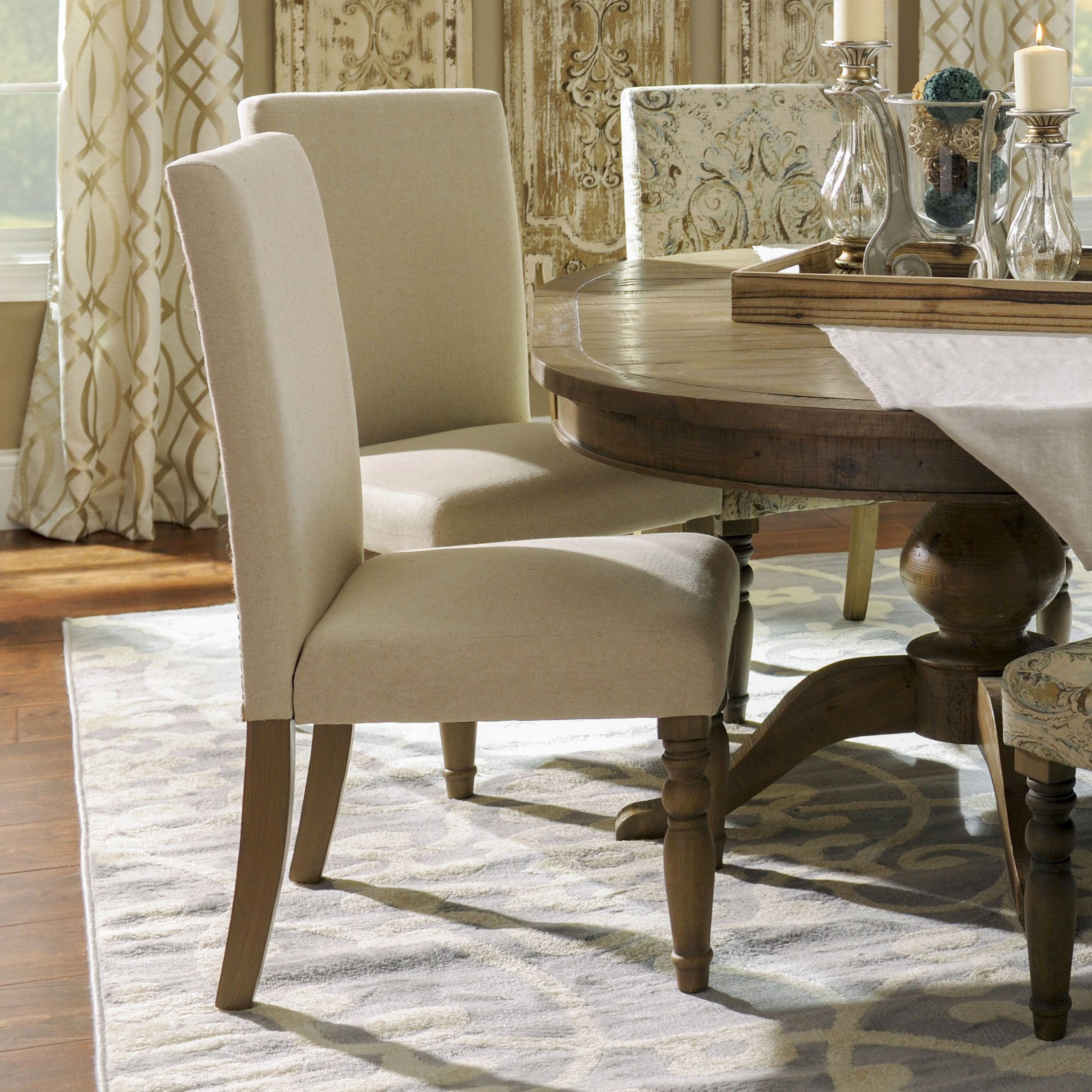 Oatmeal Burlap Parsons Chair (With images) | Dining room ...