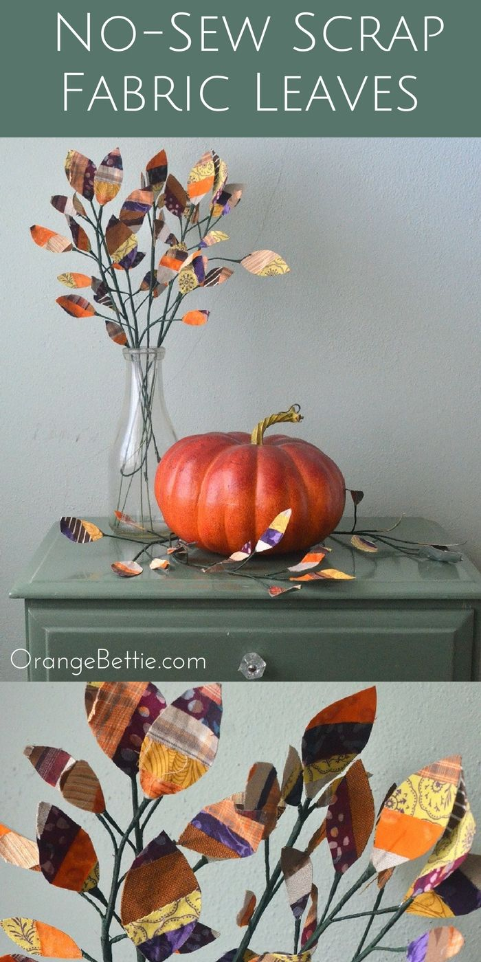 Scrap fabric leaves that hold their shape - TUTORIAL - Orange Bettie