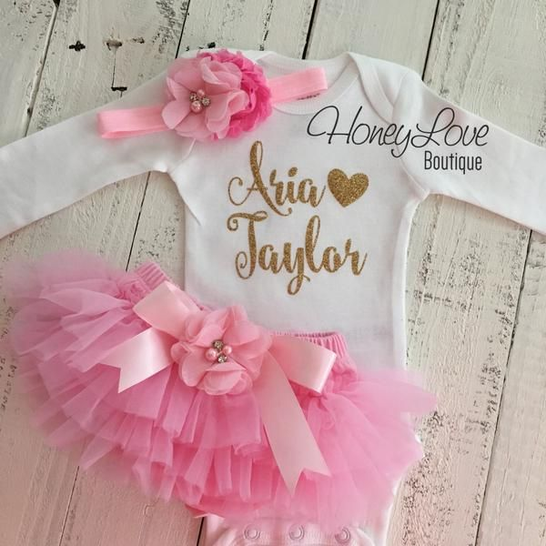 Pink Onesie Set with Gold Flowers