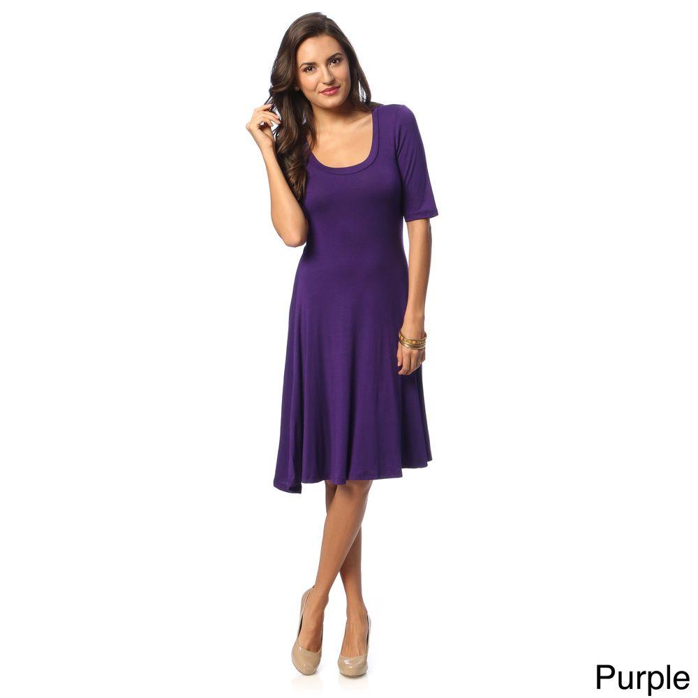 e66d7d8decfd 24 7 Comfort Apparel Women s Solid Knee-length Dress