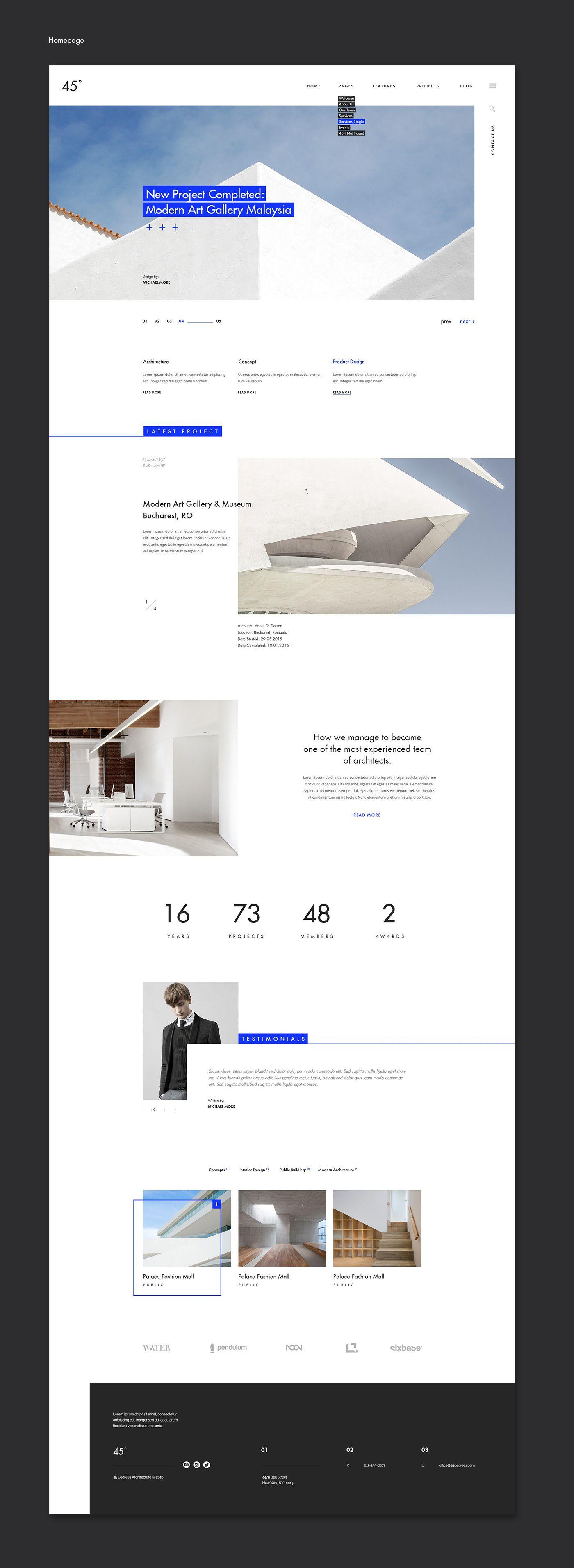45 degrees - Architecture Studio PSD | themeforest.net on Behance