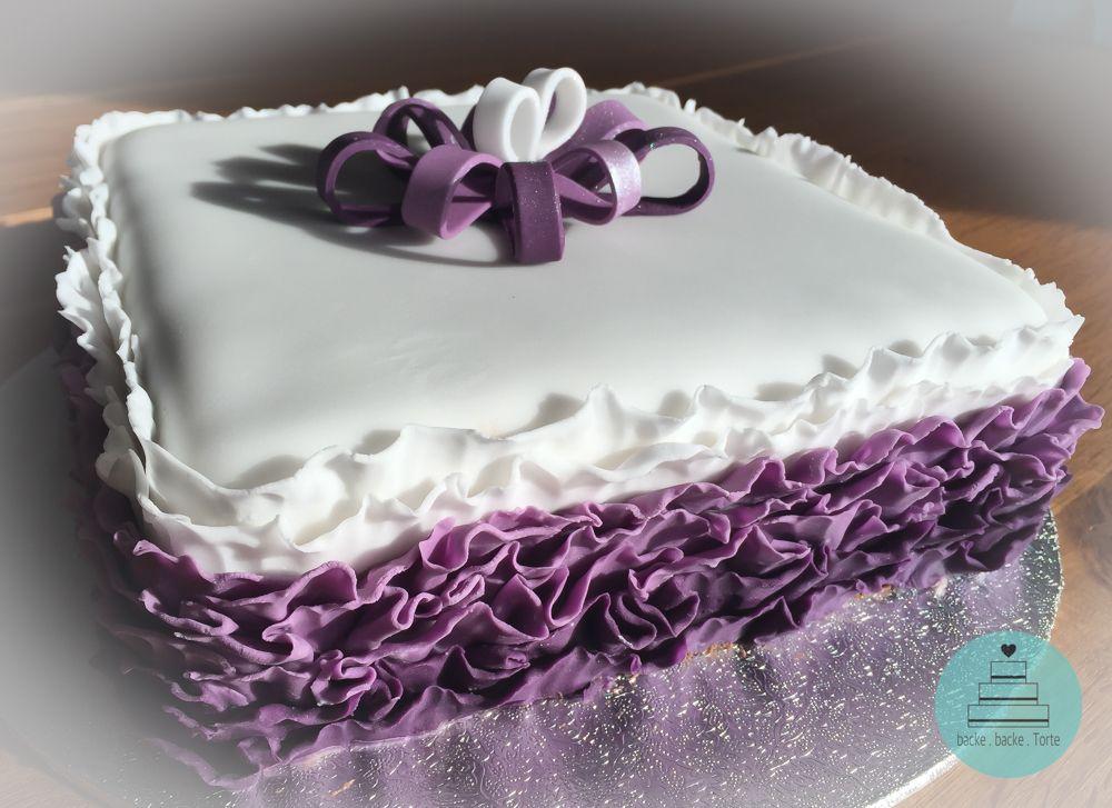 Motivtorte zum geburtstag r schen r schchen torte cake lila wei fondant masche - Cake pops 50 geburtstag ...