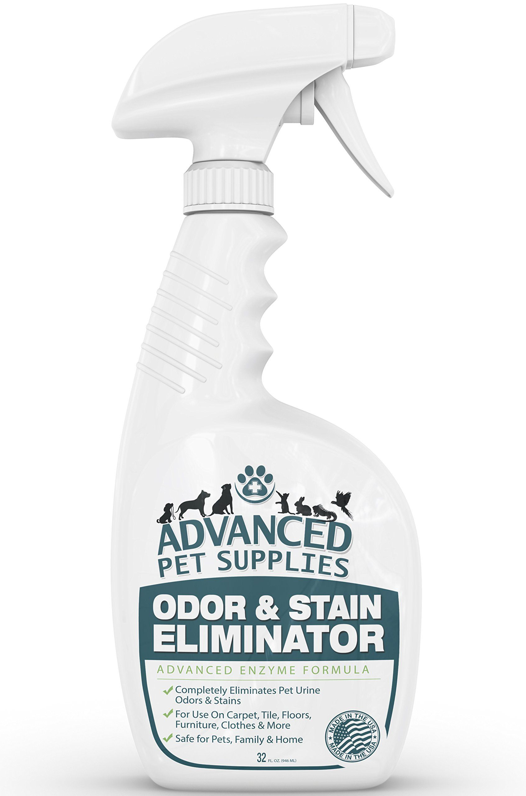 Advanced Pet Supplies Odor Eliminator and Stain Remover Carpet Cleaner with Odor Control Technology Cat Urine and Dog Pee Neutralizer Spray Professional ...