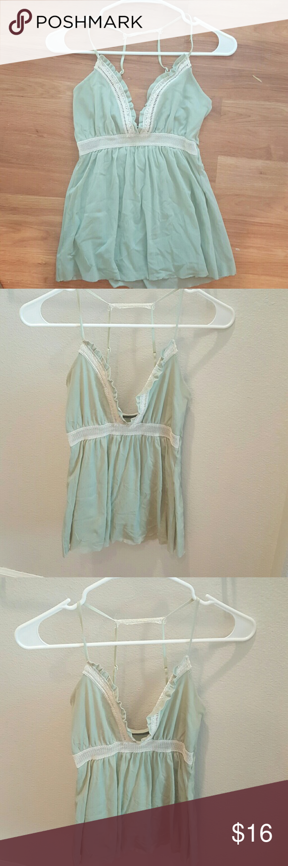 Mint green tank top Love this tank , fits great, love the back strap detail Tops Tank Tops