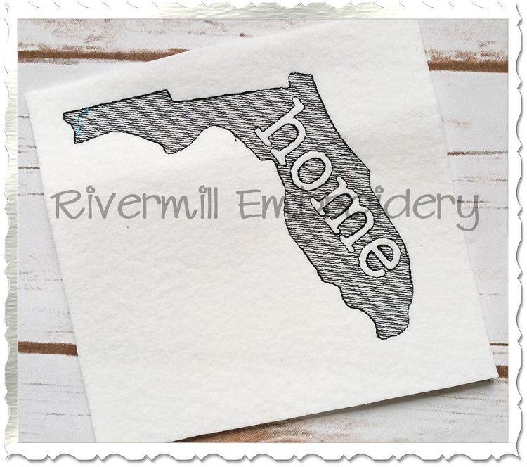 Sketch Style Florida Home Machine Embroidery Design | Machine ...
