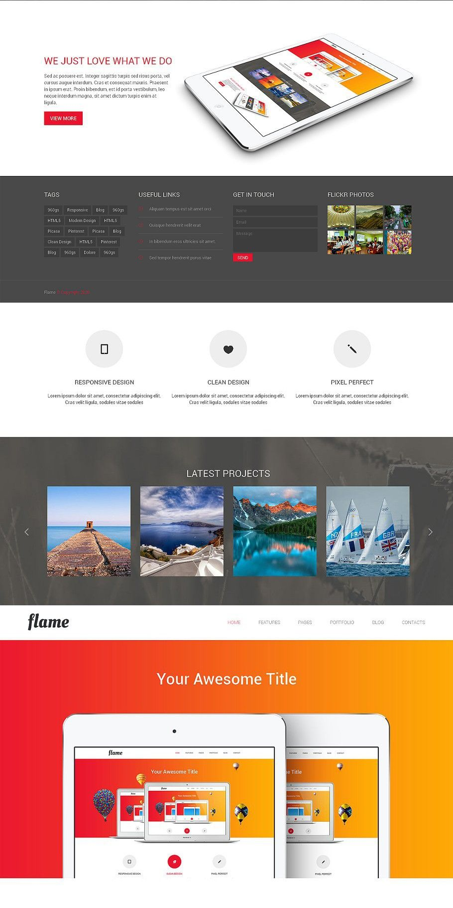 Flame Responsive Bootstrap Template In 2020 Bootstrap Template Web Graphic Design Templates