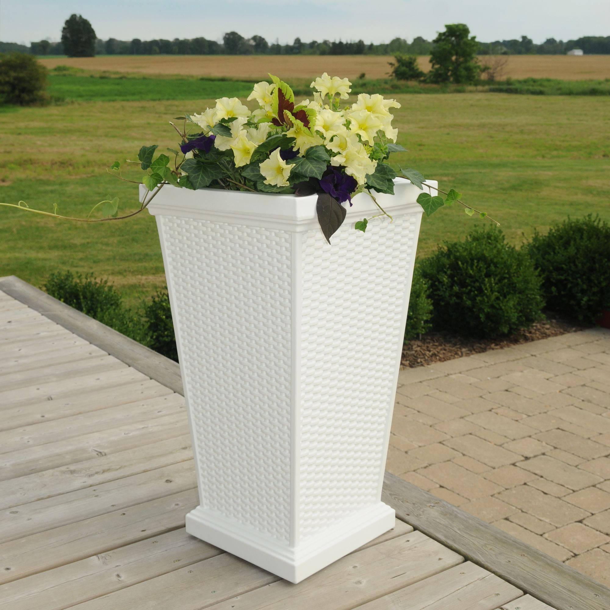 """Mayne Wellington 28"""" tall patio planter in white Made in the USA"""