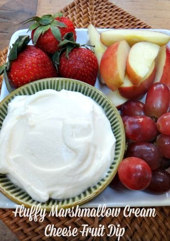 Fluffy Marshmallow Cream Cheese Fruit Dip