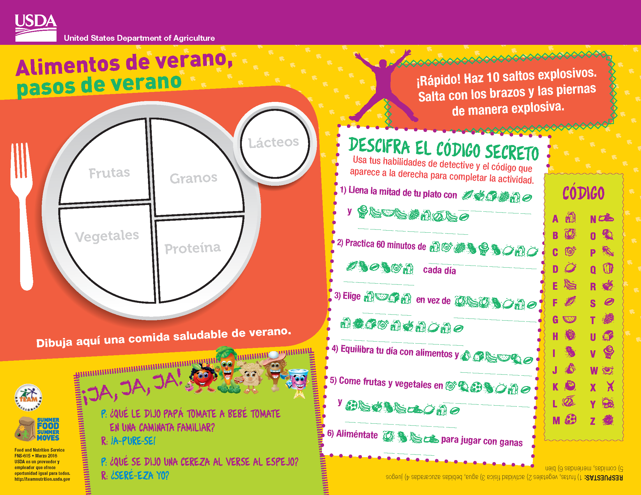 Summer Food My Plate Activity Placemat Spanish