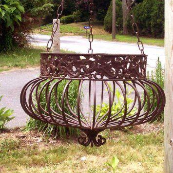 Amazon Com Set Of 3 Victorian Hanging Planters Wrought Iron Rust