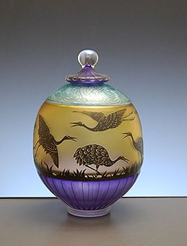 Covered Jar with Cranes « Gary Genetti Glass
