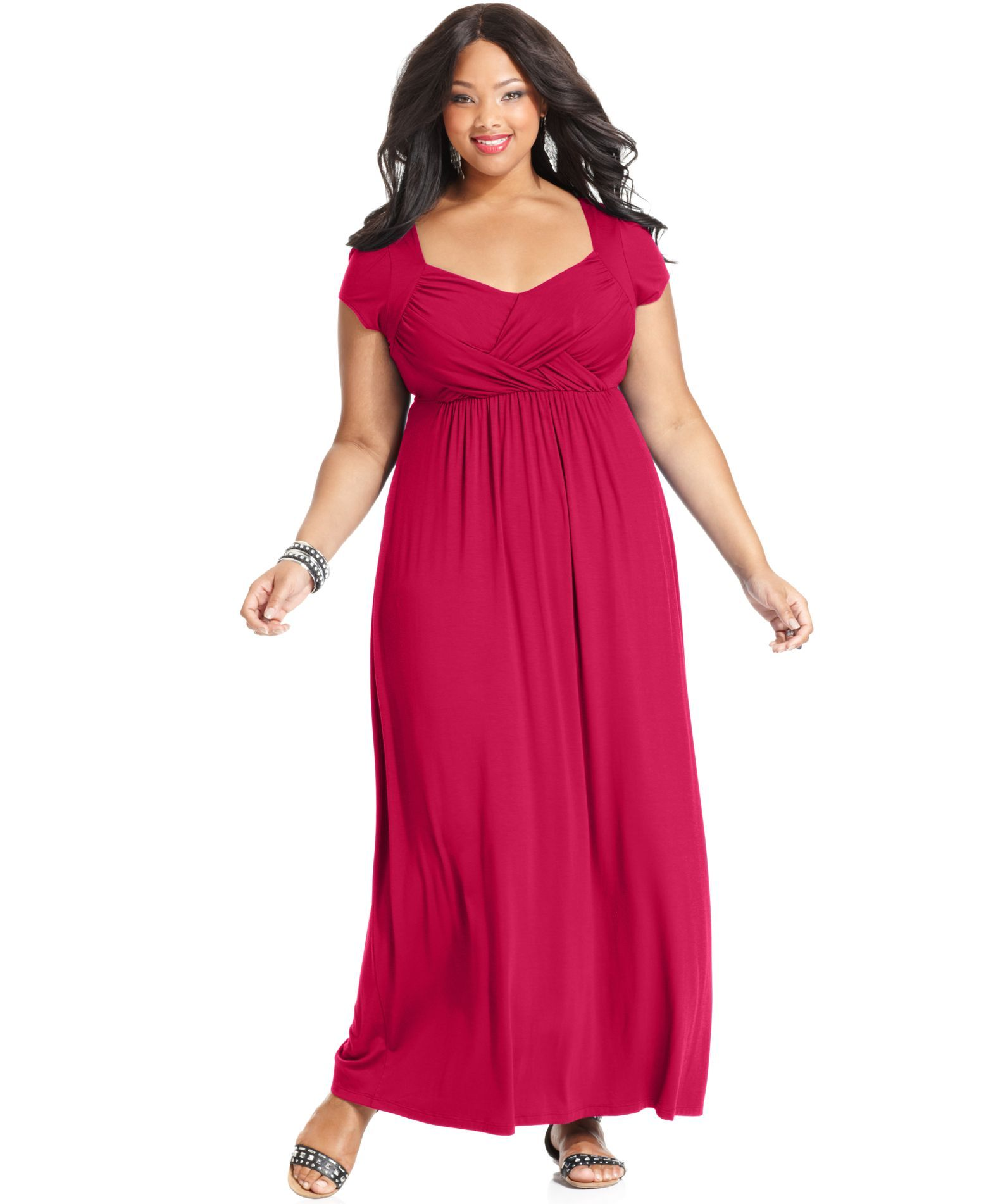 Maxi dress with cap sleeves plus size