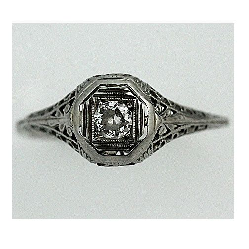 Antique 18 Kt White Gold Old European Cut Diamond Engagement Ring Circa Early 1920's