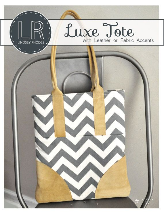 PDF Sewing Pattern / Luxe Tote / Leather Accent Handbag Pattern ...