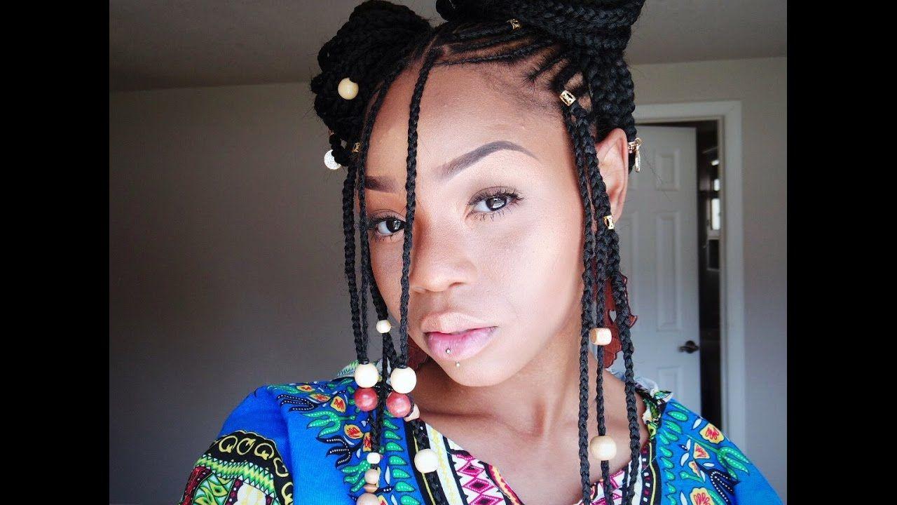 Fulani Alicia Keys Braids Tutorial Phivestarhair Video Https Blackhairinformation Com Video Gallery Hair Styles Braids With Beads Braided Hairstyles