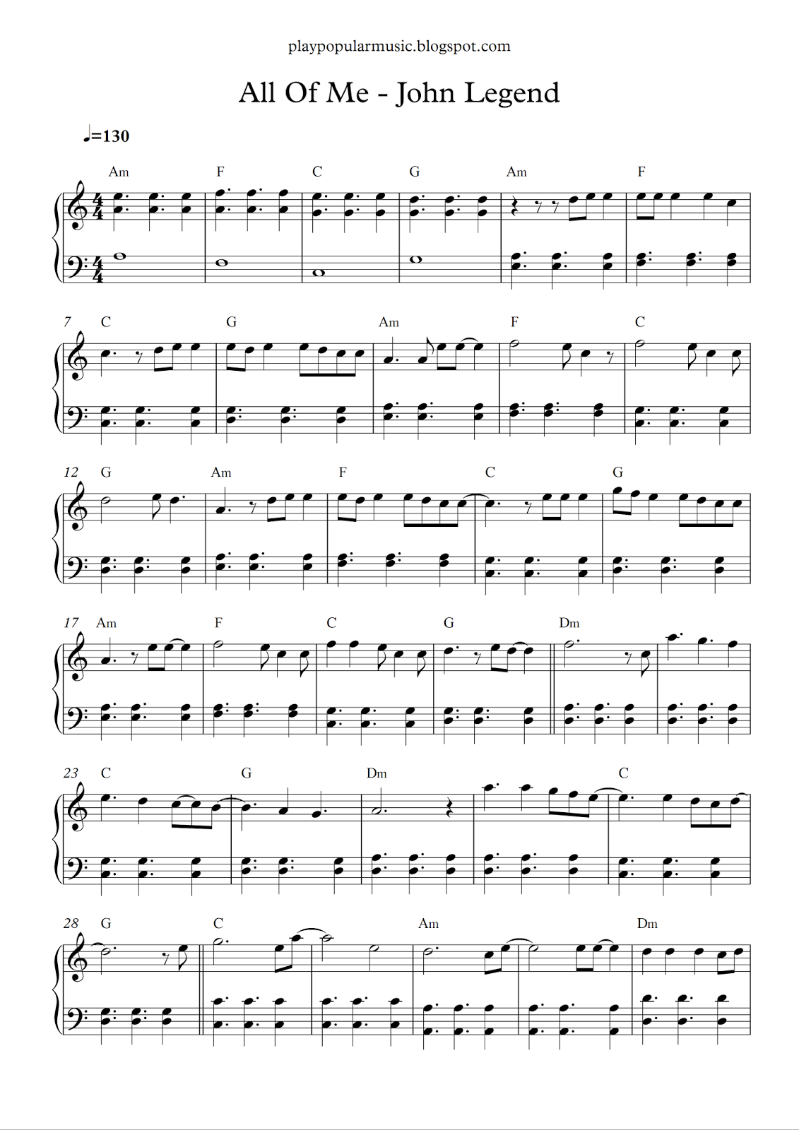 All Of Me Piano Sheet Music With Letters Free Thedoctsite