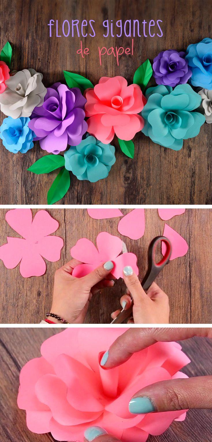 Flores gigantes de papel decora tu cuarto las plantas y for Decoracion papeles