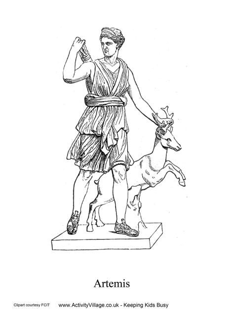 Artemis Colouring Page Ancient Greece Colouring Pages Ancient