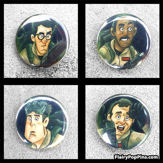 "Ghostbusters Illustrated 4 Pack 1.25"" Pin back buttons"