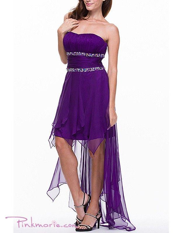 Strapless Chiffon Dress with Beaded Empire Prom Dress