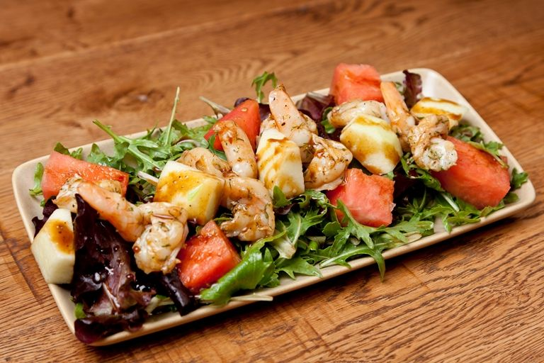 Alfred Prasad's quick and easy prawn salad proves that simple dishes are usually the best - pairing the prawns with rocket, watermelon and balsamic