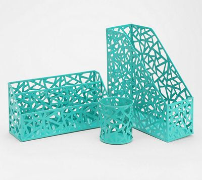 Get Organized In Style With The Geo Cutout Turquoise Office Accessories Made From Enameled