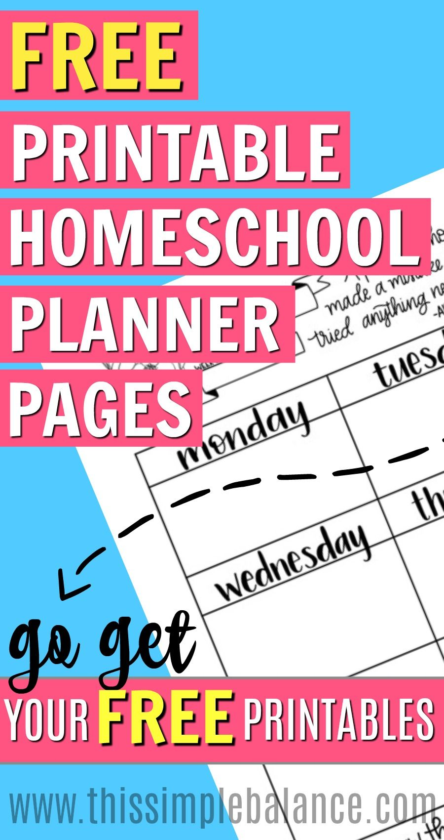 FREE Printable Homeschool Planner Pages (perfect for